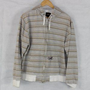 O'Neill Tan White Striped Zip Up Jacket Hoodie